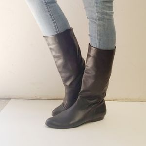 COBBIE Leather Under Knee Length Brown Boots 8 1/2
